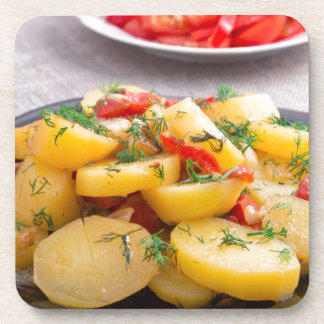Stew of potatoes with onion, bell pepper, fennel beverage coasters
