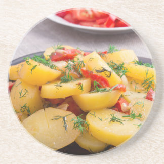 Stew of potatoes with onion, bell pepper, fennel coaster