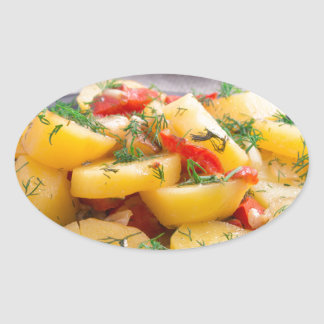 Stew of potatoes with onion, bell pepper, fennel oval sticker