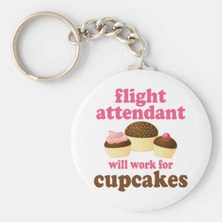 Steward (hôtesse de l'air) drôle de petits gâteaux porte-clé rond