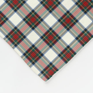 Stewart Clan White and Red Formal Dress Tartan Fleece Blanket