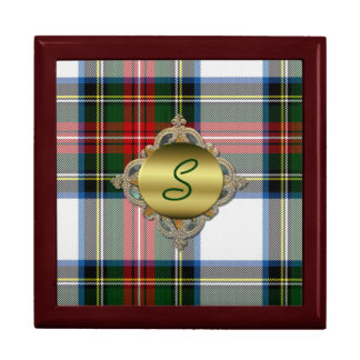 Stewart Dress Monogrammed Plaid Tile Box
