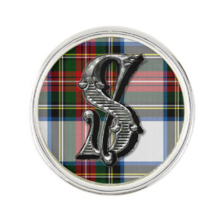 Stewart Dress Plaid Monogram S Lapel Pin