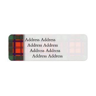 Stewart of Appin clan Plaid Scottish tartan Return Address Label