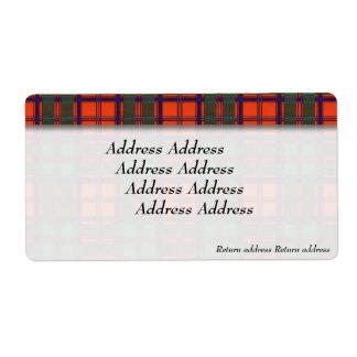 Stewart of Appin clan Plaid Scottish tartan Shipping Label