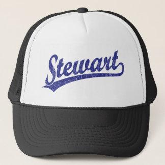 Stewart script logo in blue trucker hat