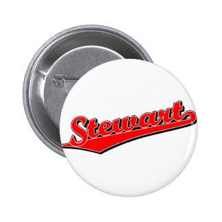 Stewart script logo in red 2 inch round button
