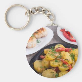 Stewed potatoes, meatballs minced chicken basic round button keychain