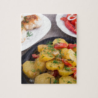 Stewed potatoes, meatballs minced chicken jigsaw puzzle