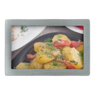 Stewed potatoes, meatballs minced chicken rectangular belt buckle