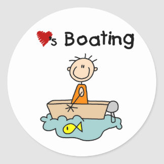 Stick Boy Loves Boating Classic Round Sticker