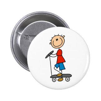 Stick Boy on Scooter 2 Inch Round Button