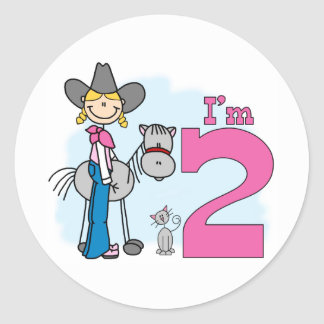 Stick Cowgirl 2nd Birthday Classic Round Sticker