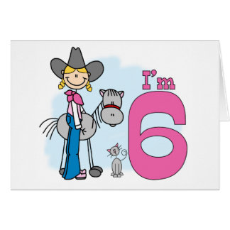 Stick Cowgirl 6th Birthday Note Card