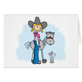 Stick Cowgirl N Horse Greeting Cards