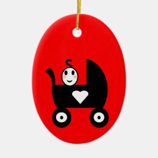 Stick Family Baby Ceramic Ornament