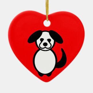 Stick Family Dog Ceramic Ornament