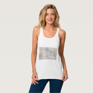 Stick family on the beach. Smiley figures on sand Tank Top
