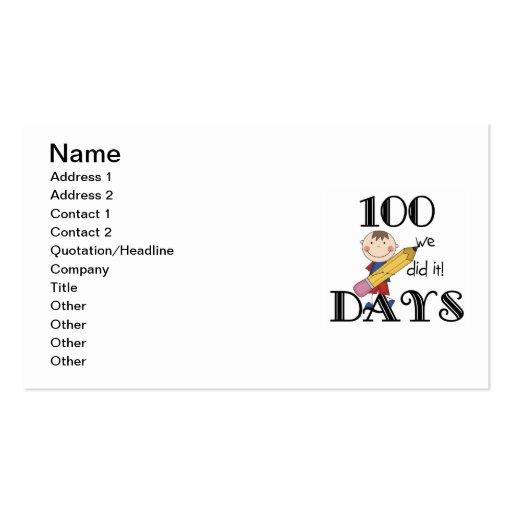 Stick Figure 100 Days Business Card