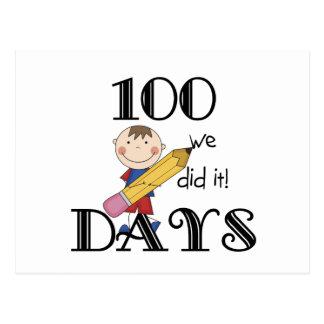 Stick Figure 100 Days Postcard