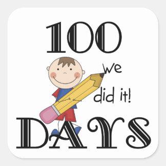 Stick Figure 100 Days Square Sticker