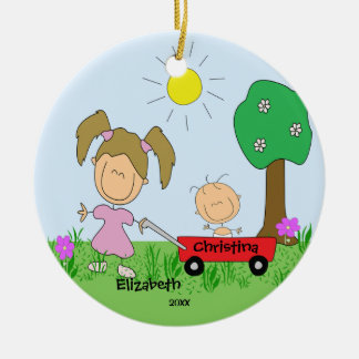 Stick figure Big & Lil Sister Christmas Ornament