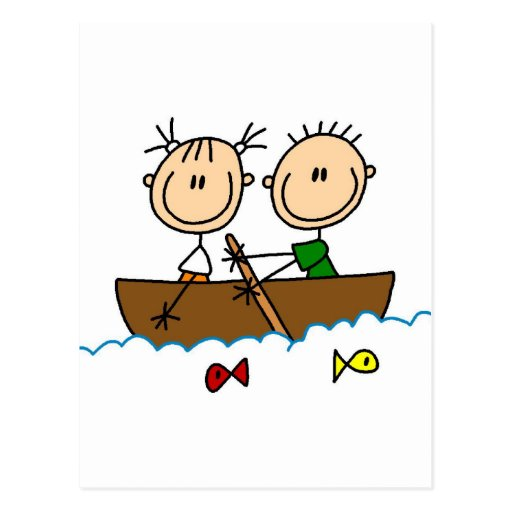 Stick Figure Boat Fishing Tshirts and Gifts Post Cards