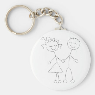 Stick Figure Boy and Girl Keychain