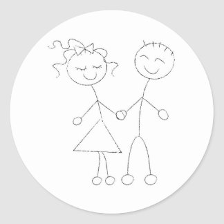 Stick Figure Boy and Girl Round Sticker