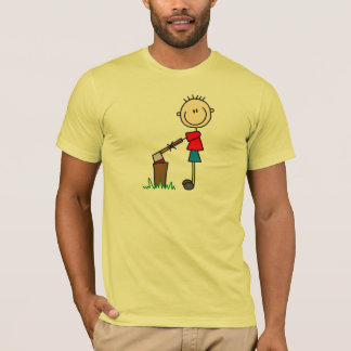 Stick Figure Boy Chops Wood Shirt