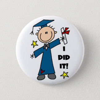 Stick Figure Boy Graduate T-shirts and Gifts 2 Inch Round Button