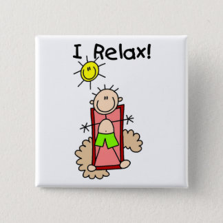 Stick Figure Boy I Relax 2 Inch Square Button