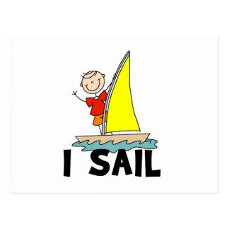 Stick Figure Boy I Sail Postcard