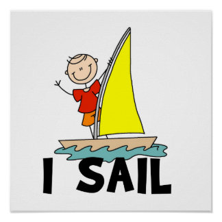 Stick Figure Boy I Sail Poster