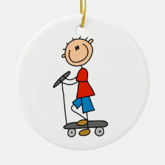 Stick Figure Boy on Scooter Ornament