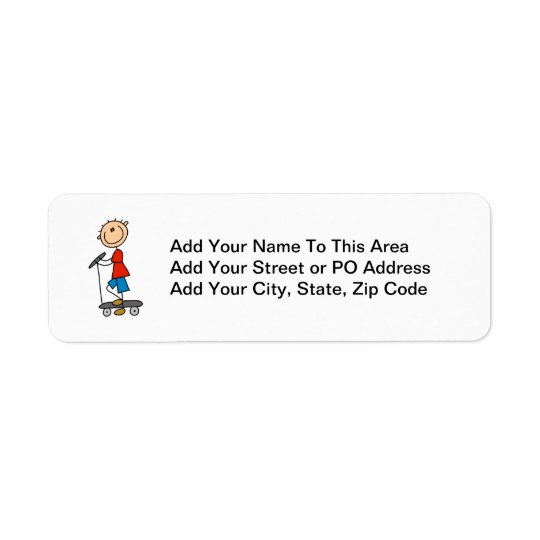 Stick Figure Boy on Scooter Return Address Label