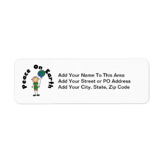 Stick Figure Boy Peace on Earth T-shirts and Gifts Return Address Label