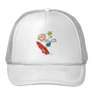 Stick Figure Boy Surfing Hat