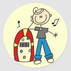 Stick Figure Boy with Jukebox Tshirts and Gifts Classic Round Sticker