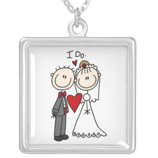 Stick Figure Bride and Groom I DoNecklace Square Pendant Necklace