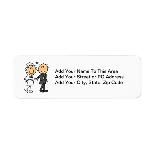 Stick Figure Bride and Groom T-shirts and Gifts Return Address Label