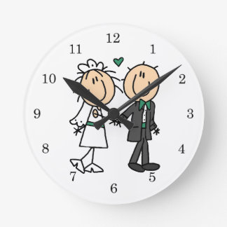Stick Figure Bride and Groom T-shirts and Gifts Wallclock