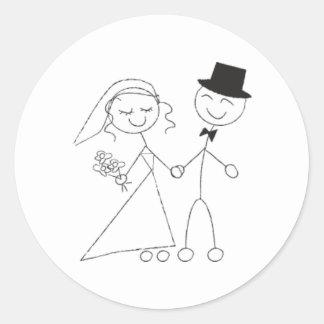Stick Figure Bride Groom Round Sticker