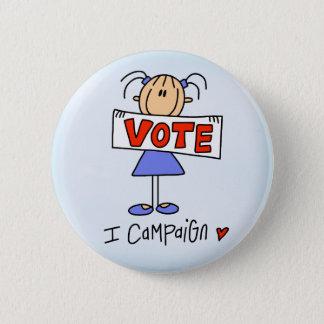 Stick Figure Campaign Worker 2 Inch Round Button