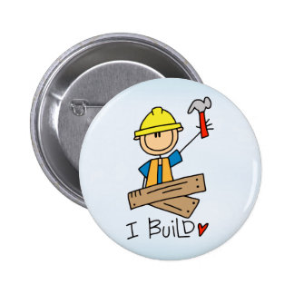 Stick Figure Carpenter 2 Inch Round Button