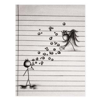 Stick Figure Cartoon Boy Blowing Bubbles to Girl Postcard