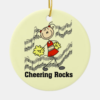 Stick Figure Cheering Rocks T-shirts and Gifts Ceramic Ornament