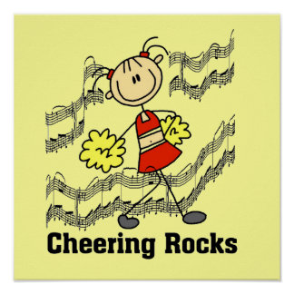 Stick Figure Cheering Rocks T-shirts and Gifts Poster