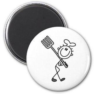 Stick Figure Chef with Fork Magnet