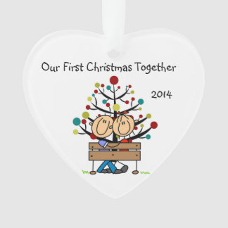 Stick Figure Couple on Bench Heart Ornament